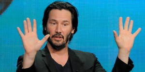 "Keanu Reeves, host and producer of the documentary film ""Side By Side,"" addresses reporters during the PBS Summer 2013 TCA press tour at the Beverly Hilton Hotel on Tuesday, Aug. 6, 2013, in Beverly Hills, Calif. (Photo by Chris Pizzello/Invision/AP)"